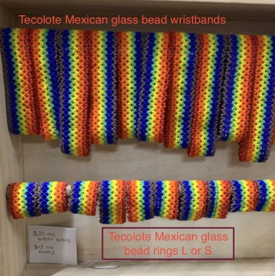 Tecolote Wristband – Rainbow Glass Beaded