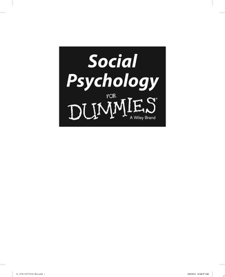 Social Psychology For Dummies(R)