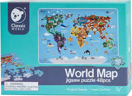 World Map Wooden Jigsaw Puzzle (48 pcs)