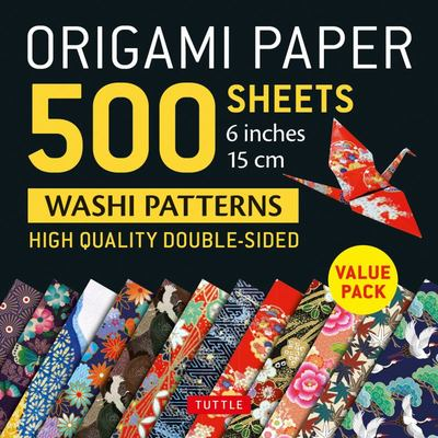 Origami Paper 500 Sheets Japanese Washi Patterns 6 (15 Cm) - High-Quality Double-Sided Origami Sheets Printed with 12 Different Designs (Instructions for 6 Projects Included)