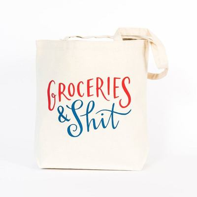 Tote Bag Groceries and Shit Emily McDowell