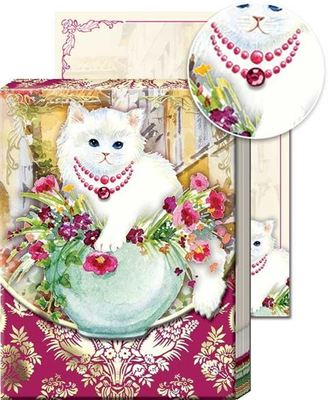 White cat notepad
