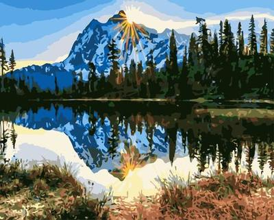 Landscape Nature Lake Mountain DIY Paint By Numbers Canvas