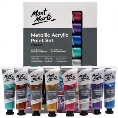 Premium Metallic Acrylic Paint Set 8pc x 36ml PMMT8361