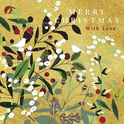 Christmas Card - Merry Christmas with Love Golden Berries (RED_PANX649)