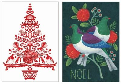 Red Tree and Kereru Christmas Card Pkt 8