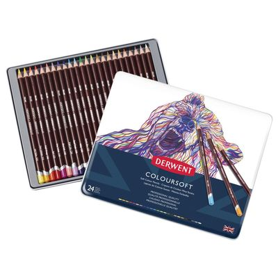 Derwent Coloursoft Pencils - Tin of 24 7006861