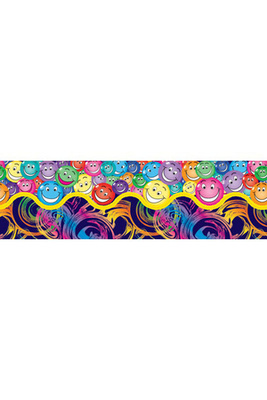 PA543 - Swirls and Smiles Border - 12 strips Pop Art Border - ATA
