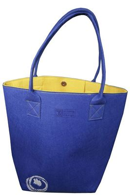 Ecofelt Shoulder Tote - Kowhai Blue and Yellow