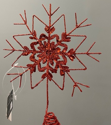 Snowflake Tree Topper Red