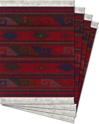Deep Red Zapotec Coaster Rugs
