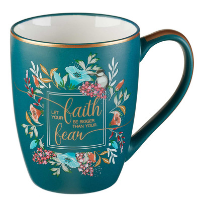 Mug Let your faith be Bigger Floral Blue