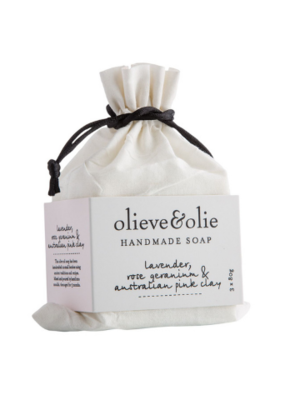 Large olieve olie hand made bar soap lavender rose geranium australian pink clay 3x80g grande