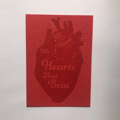 We All Have Hearts That Beat Letterpress Postcard - Red on Red