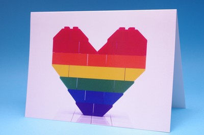 Card - BrickNetty Pride Heart- Rainbow