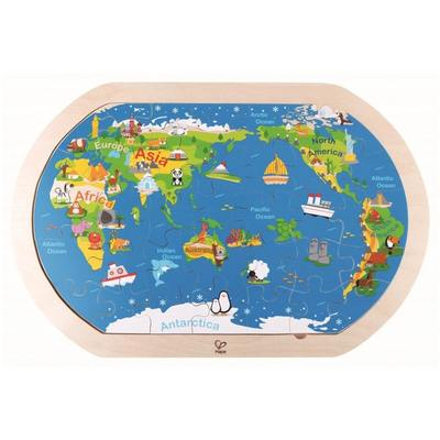 Around the World Wooden Map Puzzle