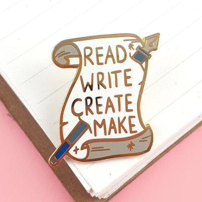Jubly Lapel Pin - Read Write Create Make [JU-W-E142]