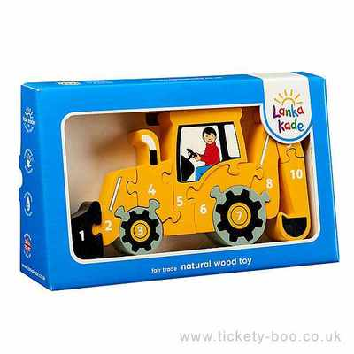 Fairtrade Wooden Yellow Digger Puzzle