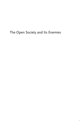 The Open Society and Its Enemies - New One-Volume Edition