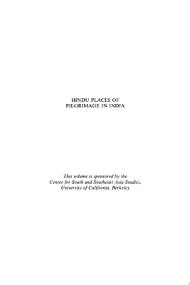 Hindu Places of Pilgrimage in India - A Study in Cultural Geography