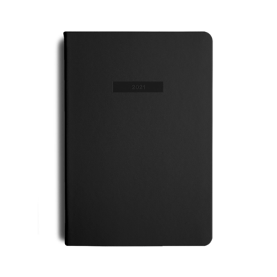MiGoals 2021 BLACK Classic Diary - Weekly + Notes A5 Soft Cover
