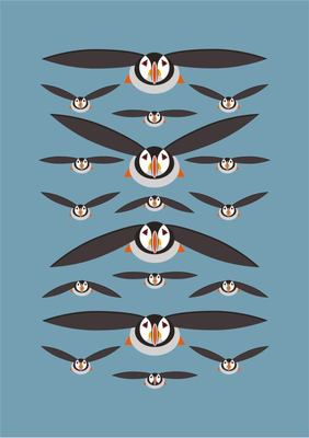 Flying Puffins A5 Hardback Notebook