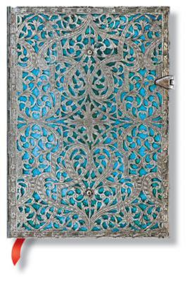 Paperblanks - Silver Filigree Maya Blue Midi (Lined)