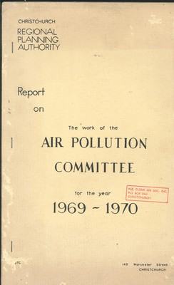 Report on The Work of the Air Pollution Committee for the year 1869-1970
