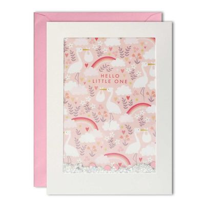 Hello Little One Pink Shakie Card