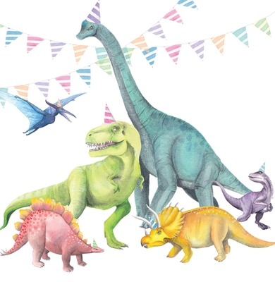 Dinosaurs with Party Hats Card