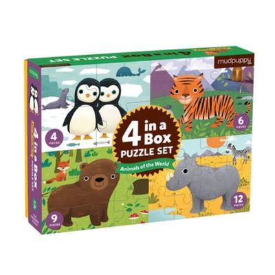 Animals of the World 4-In-a-box Puzzle Set