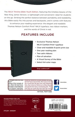 NKJV Thinline Bible Youth Red Letter Edition [Grey]