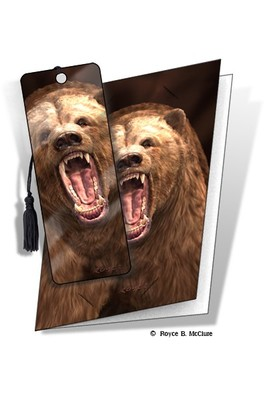 Grizzly Bear 3D Bookmark Card