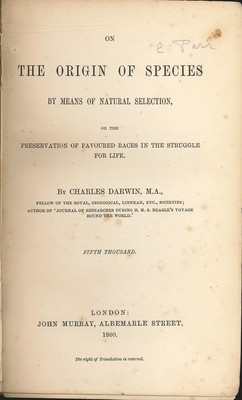 On the Origin of Species by Means of Natural Selection (Second Edition, Fifth Thousand)