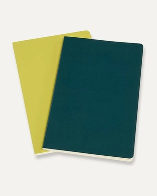 Moleskine - Volant Notebook - Plain Large Pine Green & Lemon Yellow