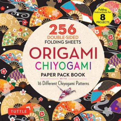 Origami Chiyogami Paper Pack Book - 256 Double-Sided Folding Sheets - 16 Different Chiyogami Patterns (instructions for 8 Projects)