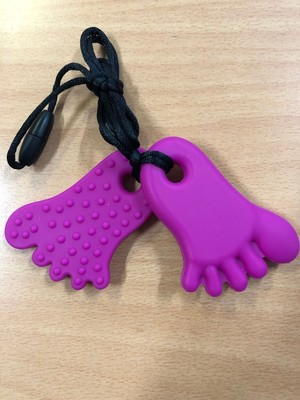 Hot Pink Feet Chew Chewable Sensory Necklace