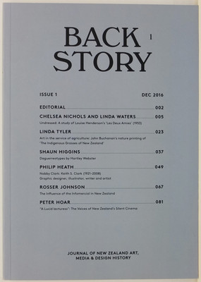 Back Story Journal Of New Zealand Art Media And Design History Issue 1 December 2016