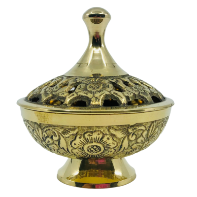 Brass Incense Charcoal Burner on Stand - Deluxe