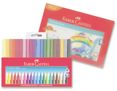 Faber Castell Grip Colour Markers - Wallet of 24
