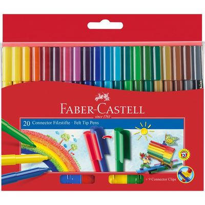 Faber Castell Connector Felt Tip Markers - Wallet of 20