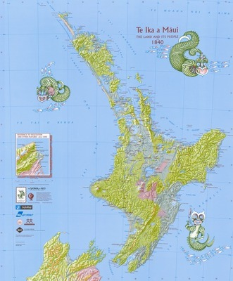 Te Ika a Maui - The Land and its People Circa 1840 Map