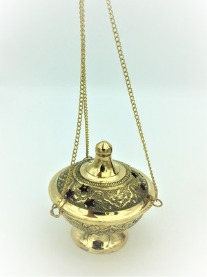 Brass Hanging Charcoal Censer - large, deluxe engraved