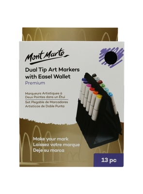 Premium Dual Tip Art Markers with Easel Wallet 13pc MMGS0026