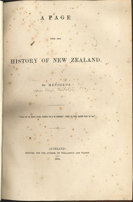 A Page from the History of New Zealand (1854)