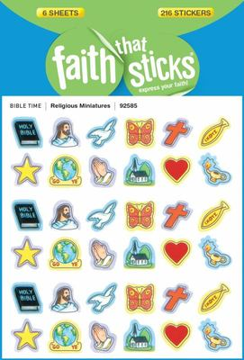 Religious Miniatures: 6 Sheets, 216 Stickers Pack