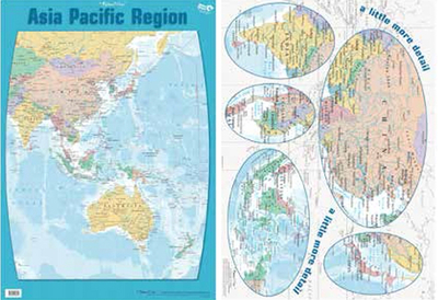 Asia Pacific Regions Double Sided Chart Poster Gillian Miles