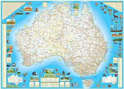 Western Australia and Australia Double Sided B2 Chart Poster Laminated - QPA