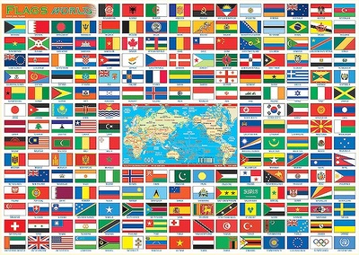 World Flags A3 Placemat Postermat Chart Poster Laminated - QPA