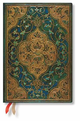 Paperblanks Diary 2022- Turquoise Chronicles Midi - Week to an opening - Weekly Notebook